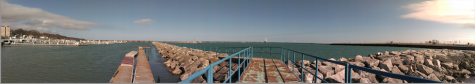 A panoramic view of the charming Port Washington Harbor