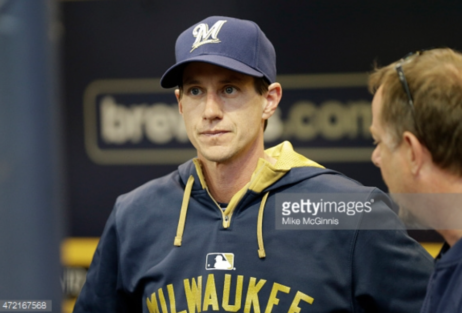 Craig+Counsell%2C+the+newly+appointed+manager+of+the+Milwaukee+Brewers%2C+stands+in+the+dugout+watching+his+team+on+Monday+night.+The+Brewers+are+2-2+so+far+in+the+Counsell+era.+Photo+provided+by+Getty+Images.