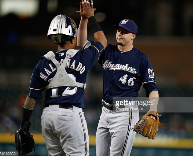 Corey+Knebel%2C+Brewers+reliever%2C+celebrates+an+8-1+victory+over+the+Detroit+Tigers+last+Tuesday+night+with+Martin+Maldonado%2C+catcher.+The+Brewers+went+4-6+on+the+road+trip.+Photo+provided+by+Getty+Images.