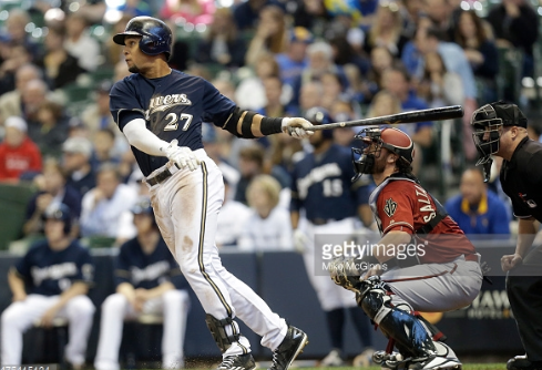 Carlos Gomez, Brewers centerfielder, hits an RBI double in the fifth inning against the Arizona Diamondbacks on May 31st at Miller Park. The Brewers won, 7-6, in 17 innings, the longest game in the history of Miller Park. Photo provided by Getty Images.