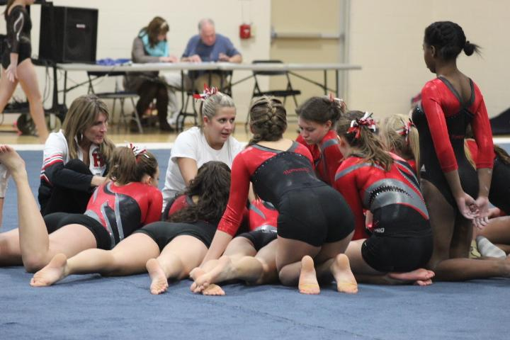 High school girls gymnastics team