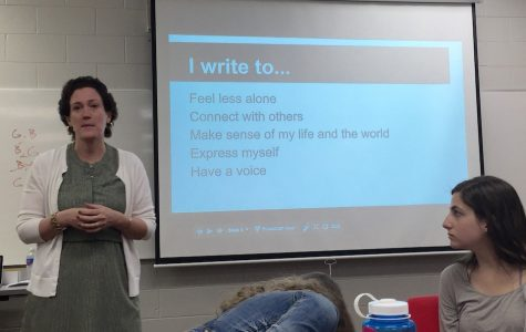 Evelyn Lauer addresses Homestead's aspiring writers