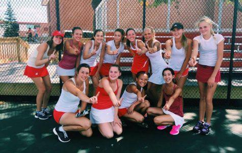 Girls varsity tennis team beats conference rival