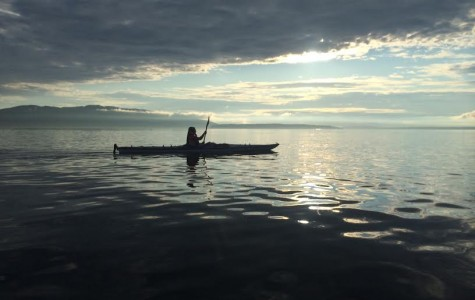 Katie McCarthy, freshman, kayaks in the Pacific Ocean. Submitted Photo