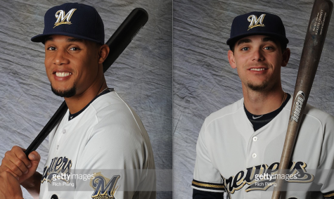 Carlos Gomez (left) and Scooter Gennett (right) represent the Brewers