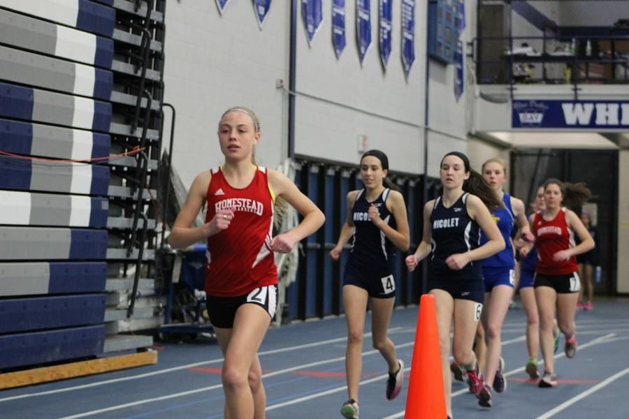 Zanelle Willemse, freshman, runs to a first place finish in the two mile.
