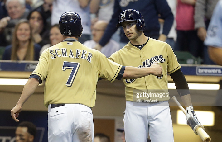 Logan Schafer and Ryan Braun celebrate Jean Segura's RBI single during Thursday's 4-2 win over the Cincinnati Reds. Unfortunately for the Brewers, wins like Thursday have been rare, and the season has resulted in many frustrated fans. Photo provided by Getty Images.