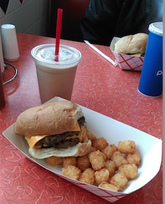 Cheeseburger, chocolate malt and a side of tatter-tots is the only way to fully enjoy the 50s amience.