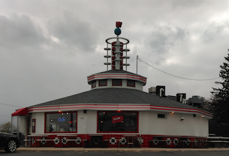 Wayne's Drive-In's rounded structure allows for customers to pull up all around the restaurant, therefore staying true to it's Drive-In origins.