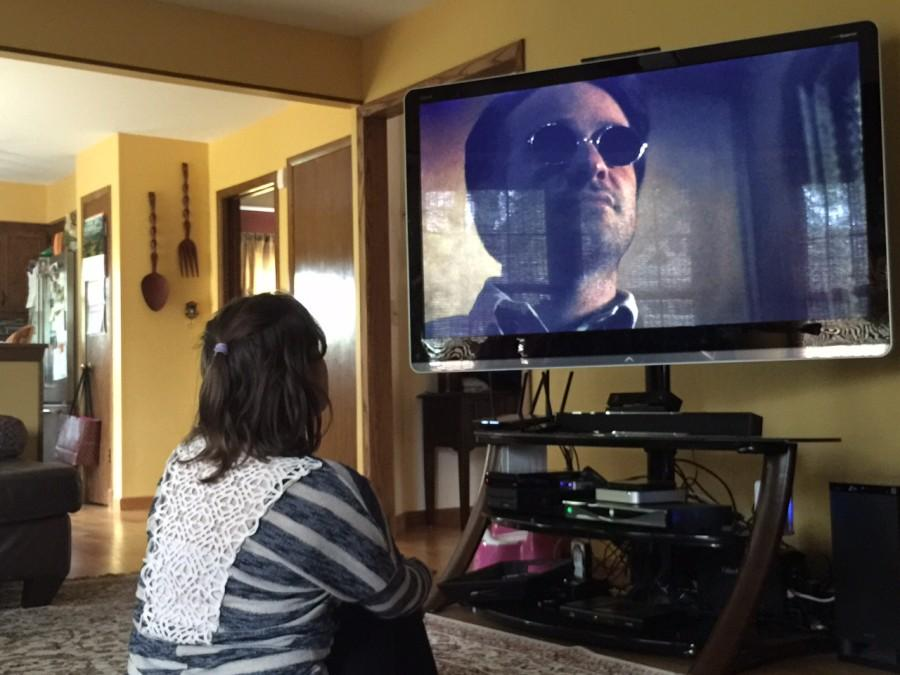 Sara Imbrie, junior,  watches the pilot of Daredevil. Growing up, Imbrie had not seen many portrayals of characters with disabilities.
