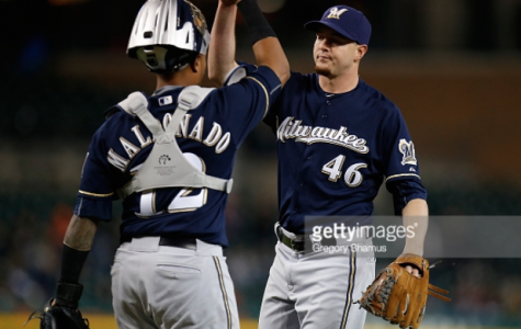 Corey Knebel, Brewers reliever, celebrates an 8-1 victory over the Detroit Tigers last Tuesday night with Martin Maldonado, catcher. The Brewers went 4-6 on the road trip. Photo provided by Getty Images.