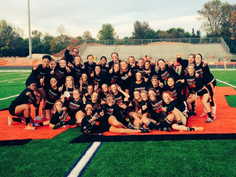 The Class of '16 gathers together on the flying 'H' after a triumph over the juniors in the annual powder puff football game.
