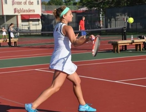 As the ball approaches Anna Kreynin, senior, she prepares to return it to her opponent. Kreynin reflected on her four years of tennis and prepares to move on after Homestead.