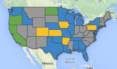 The blue states are where there currently is a campaign pending to protect either high school or college journalists' First Amendment rights, with the other demographic already protected. The green states are where both high school and college  students are protected from censorship. Yellow states have added protection for high schoolers, but not for college students. Gray states do not have any protection nor campaigns. Screenshot taken from newvoicesus.com