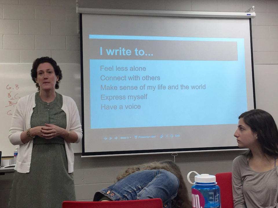 Ms. Evelyn Lauer, Huffington Post writer and author, speaks to Homestead writers about why she writes.