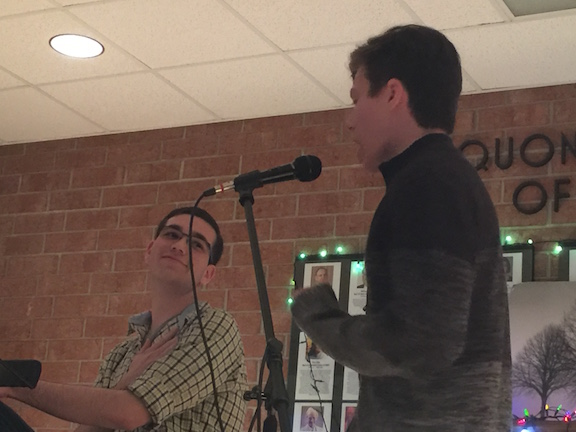 Jake Schaum and Ethan Gilerovich, seniors, sing the song