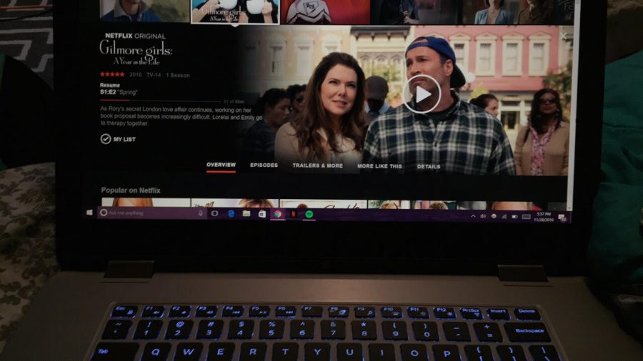 Caitlin Geurts, junior, watches Gilmore Girls: A Year in the Life on Netflix.