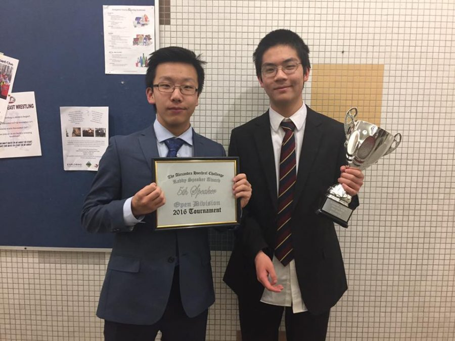 Zidao+Wang+%28left%29+and+his+partner+Andrew+Wang%2C+freshmen%2C+pose+with+their+awards+from+a+debate+tournament.%0A%27I+love+the+argumentation+that+comes+with+debate%2C%22+Wang+said