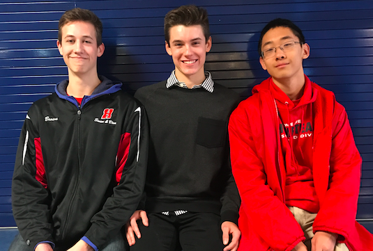 Tyler Gao and Tyler Brown, sophomores, and Dylan Bradley, freshman, (middle) pose for a picture. Bradley met Brown and Gao through swimming.