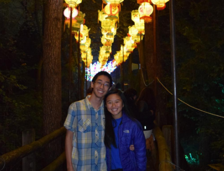 Gao poses with his friend at a traveling Chinese lantern festival that came to the Milwaukee area.