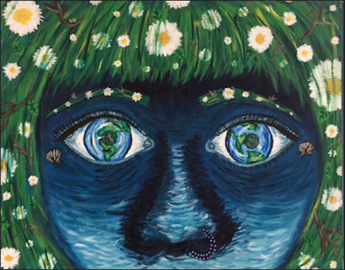 Penelope, done in acrylic paint, was completed by Painting 3 student Caitlin Geurts. In the painting program, students are encouraged to make pieces that mean something to them and are relevant to world issues. I made this piece about the Earth and about how truly special it is, Geurts said.