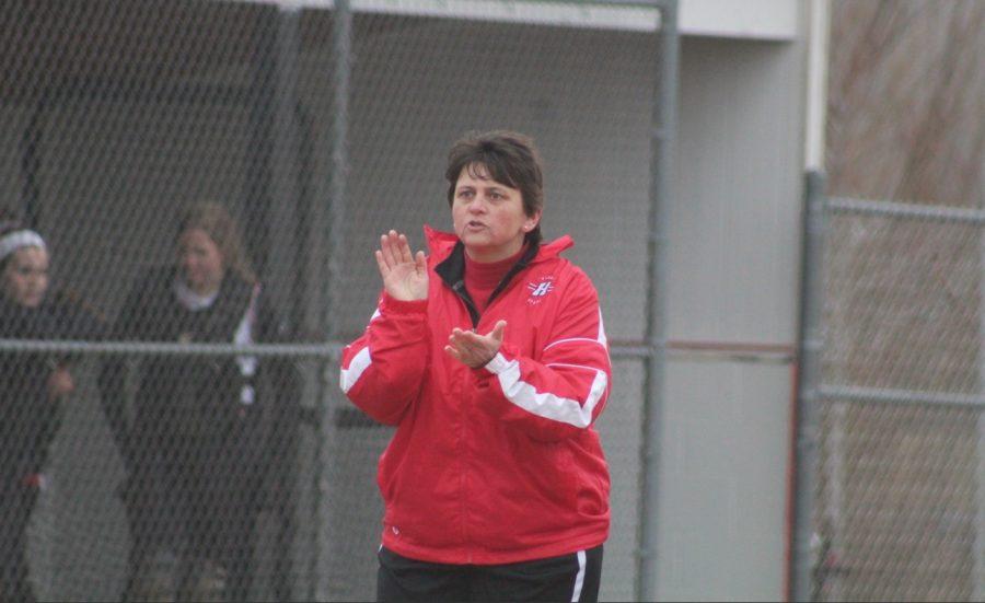 Segebrecht encourages one of her batters.