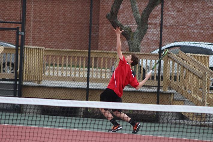 Michael Morway, sophomore, plays two singles against Grafton.