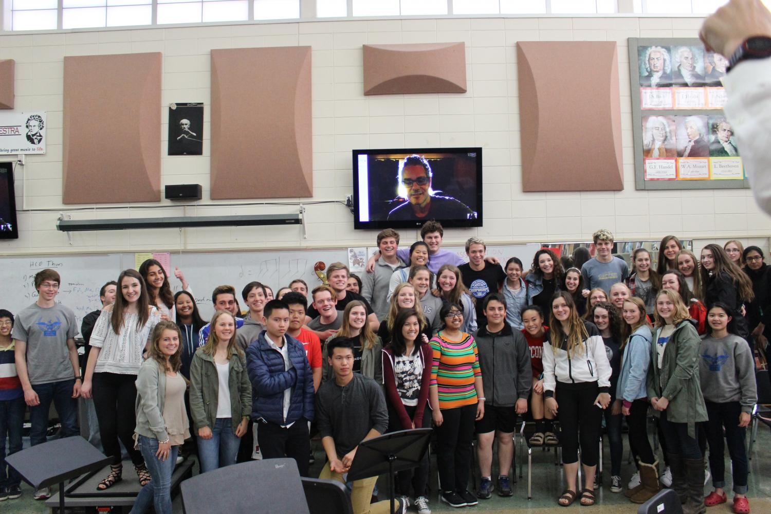 Music students pose with Beltrami.