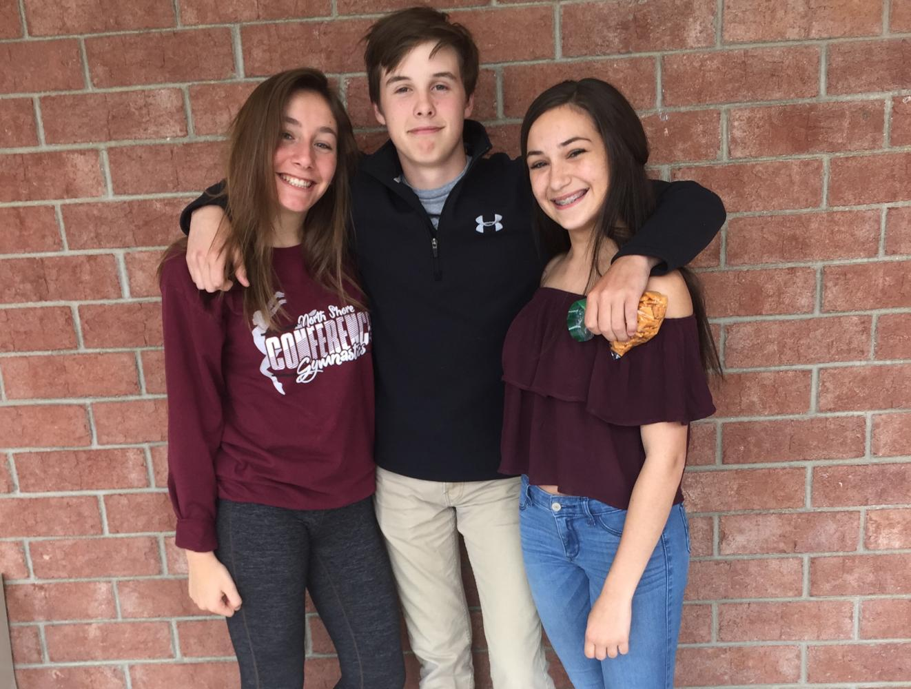 Jack Simon (center), freshman poses with Isabella Bonfiglio (left), and Samantha Haller (right), freshmen.