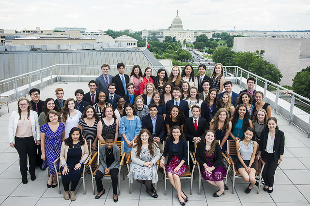 The Free Spirit Class of 2017 poses at the rooftop of the Newseum.