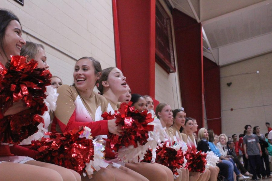 The dance team gathers at the Homecoming Pep Rally to perform and rally the crowd.
