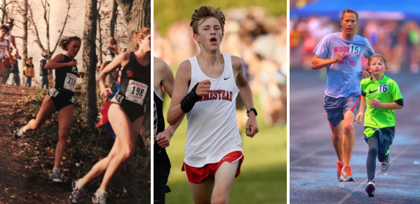 Laura Bosley (left), Drew Bosley (middle), his brother Owen, and his dad (right) run in three different races, Laura in a high school cross country meet, Drew in a high school cross country meet and his Dad and brother  in a track race.