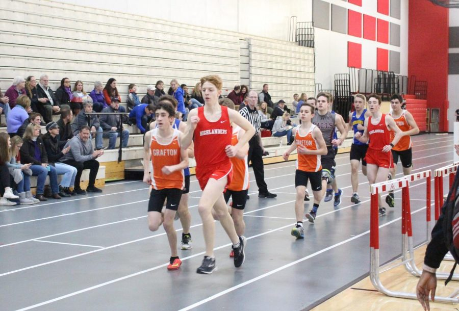 Jackson Rusch leads the pack in his long-distance event.