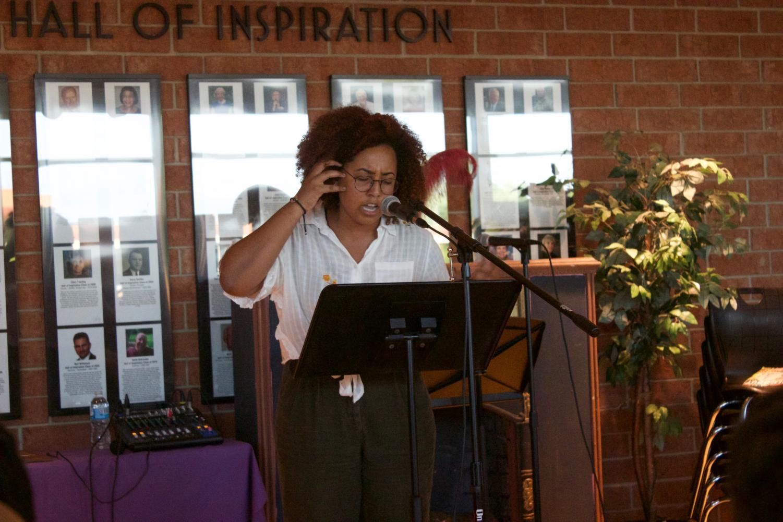 Silma Berrada, senior, performs one of her pieces.