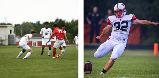 (Left) Jordan Gomez steals the ball away from a Middleton High School player. (Photo by Todd Hanson) (Right) Gomez kicks a field goal in the Homestead vs Port Washington game in August of 2018. (Photo by Margo Dolan)