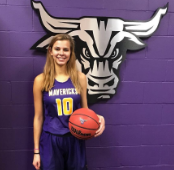 Grace Mueller, junior, smiles while repping her future college basketball team, Minnesota State University, Mankato.