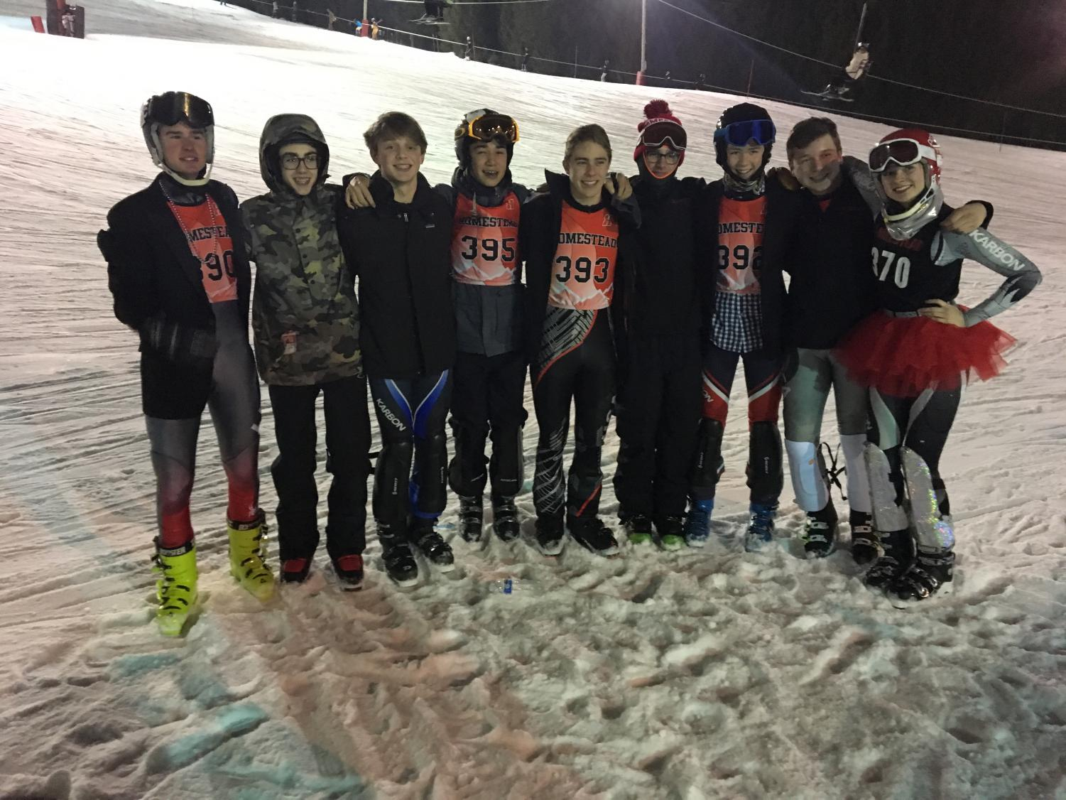 Ski team's State qualifiers gather together.