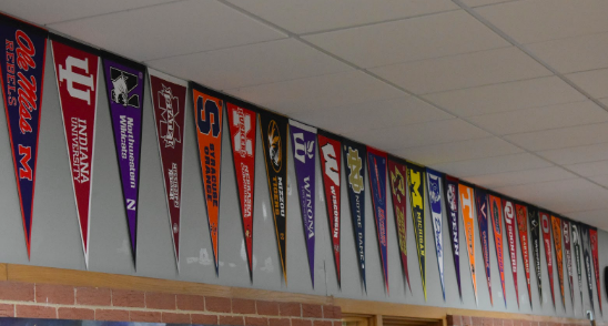 Flags adorning the hallways constantly remind seniors of the importance of college.