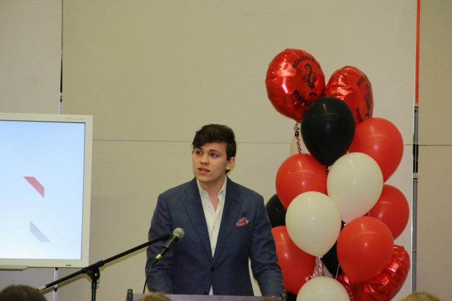 Zack Zens, junior, delivers his speech at SHIFT's annual HomesTED Talks.