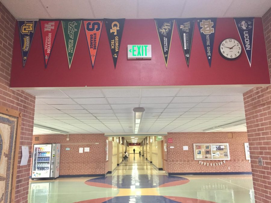 College+pennants+hang+in+the+hallways+to+inspire+students+for+the+future.
