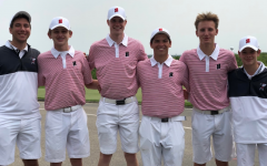 The Homestead boys golf team consisting of Ben Elchert, Christian Staudt, Michael Kennedy, Josh Teplin, Spencer Tank and Ty Mueller pose for a picture after the state tournament.
