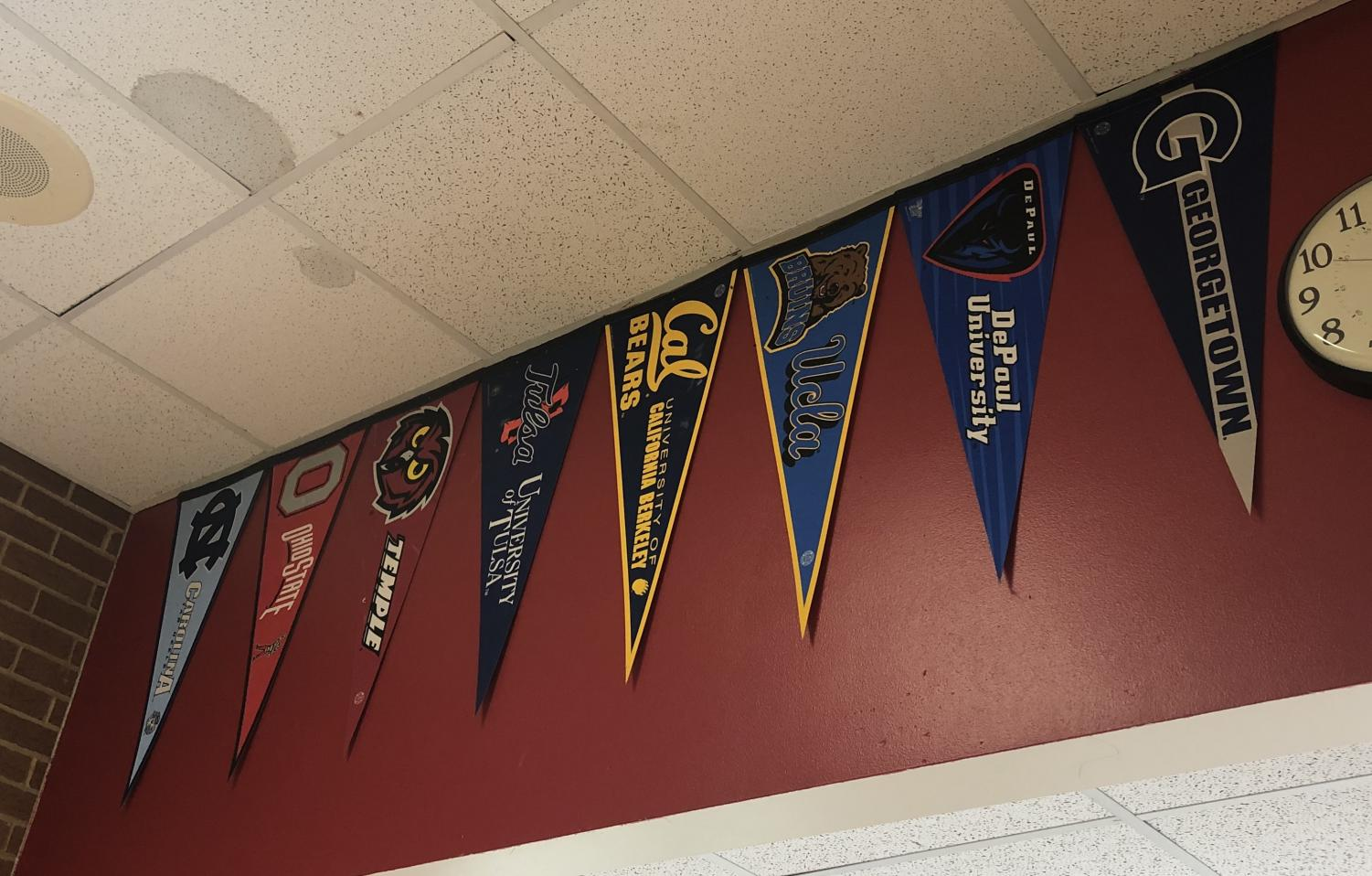 College pennants hang in the hallway to provide students with some  of their college options.