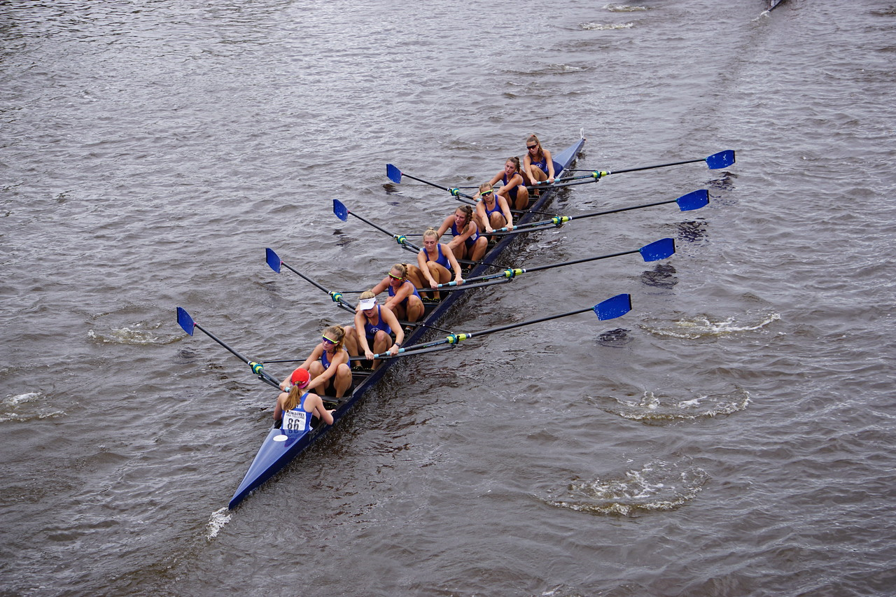 On Sept. 21 at the Milwaukee River Challenge, the Milwaukee Rowing Club took first place. Directly in the center is Olivia Sullivan (senior), with Mckinley Davies (junior), and behind her is Cate Hering (sophomore). Davies said,