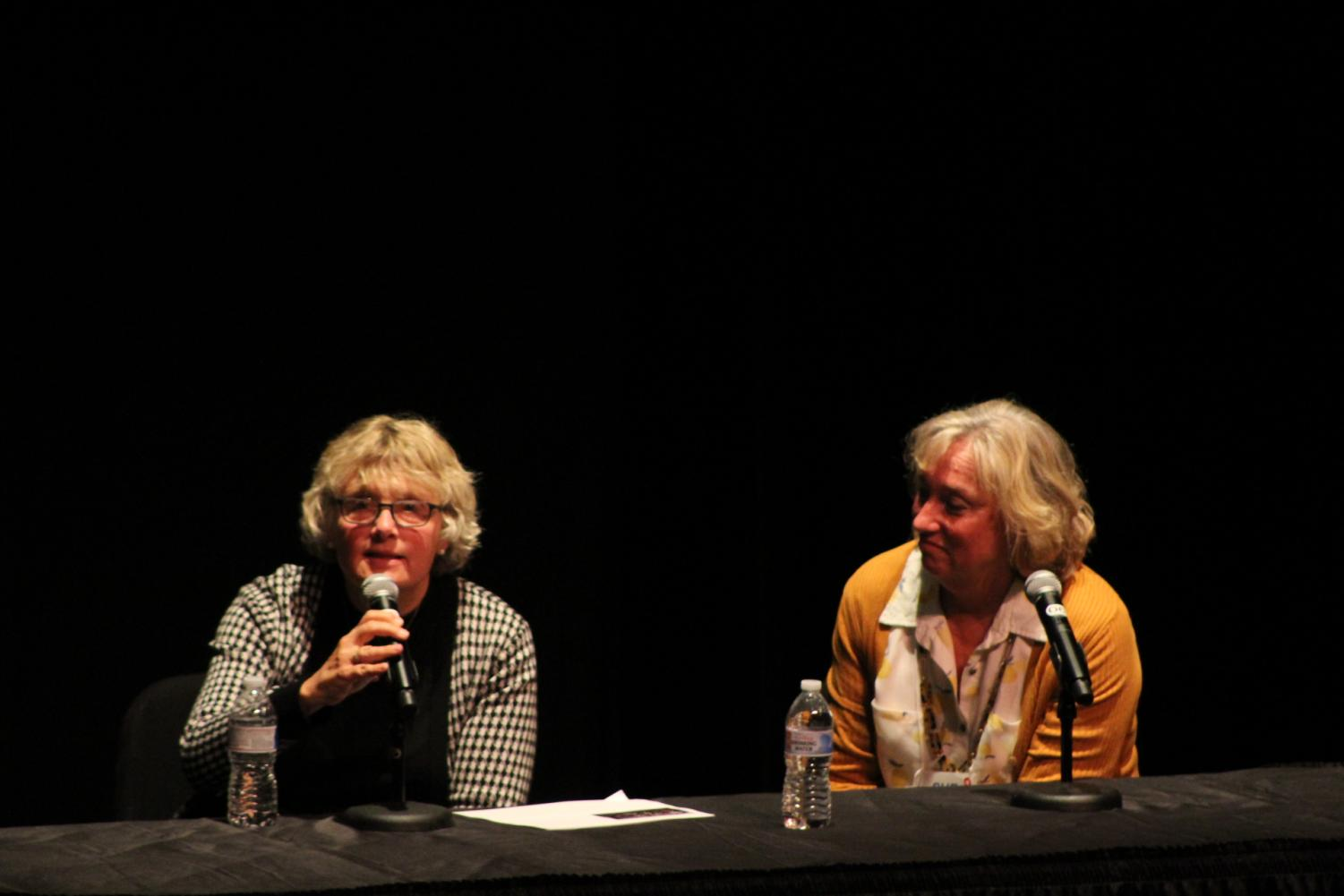 Dr. Charlene Gaebler-Uhling (left) and Sue Martin (right) answer parents' questions at the end of the presentation.
