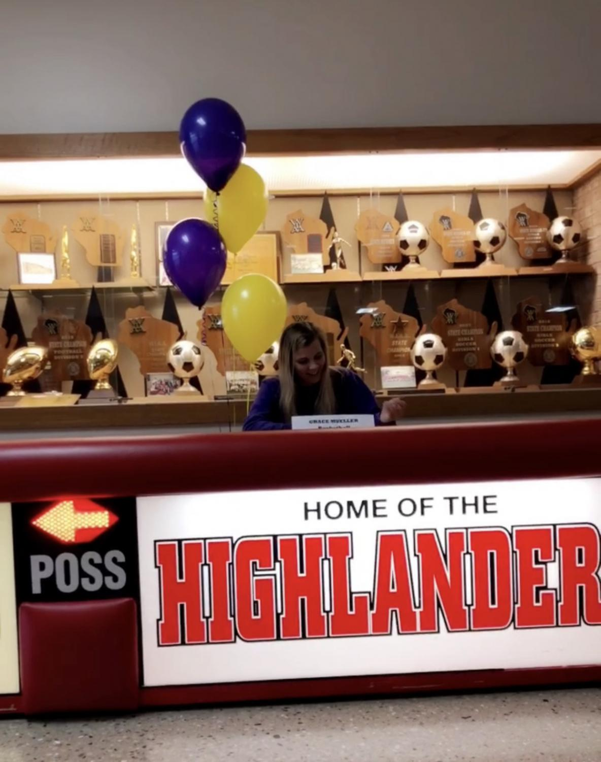 Grace Mueller, senior, signs her Letter of Intent to play basketball at Minnesota State University, Mankato.
