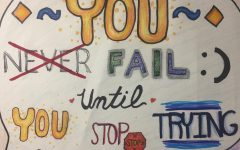 The motivational poster was created by art student Shelly Chang.