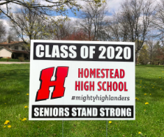 Seniors were given yard signs after schools were forced to close after statewide lockdown due to the coronavirus.
