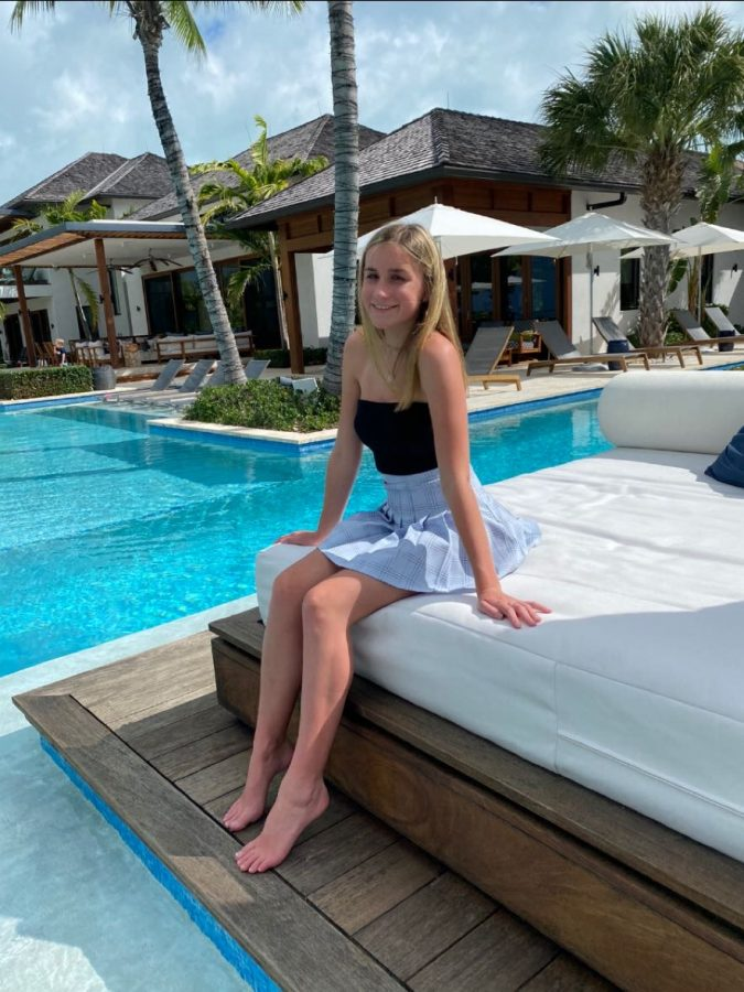 Hailey White relaxing at the Hawksbill Resort in Turks and Caicos.