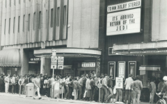 Star Wars fans congregate outside a cinema for the premiere of Return of the Jedi. A sight like this has gone unseen for the past few months due to the pandemic.