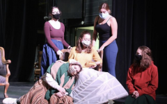 Little Women cast members Ellie Bogaczyk, Morgan Limbach, Chloe Diamond, Katrina Liberman and Kaet Sisney don masks as they rehearse for the musical.